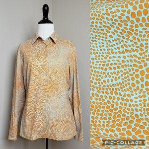 J. McLaughlin Giraffe Print Long Sleeve Polo Top